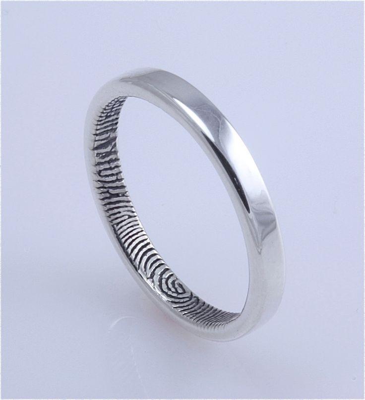 2.5mm Narrow Sterling Silver Custom Fingerprint Wedding or Commitment Band or Guard Ring. $185,00, via Etsy.