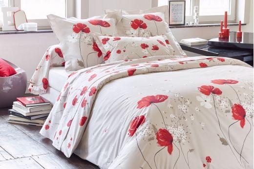 CYBELE par TRADILINGE : linge de lit en percale de coton. Comme dans un champ de coquelicots...