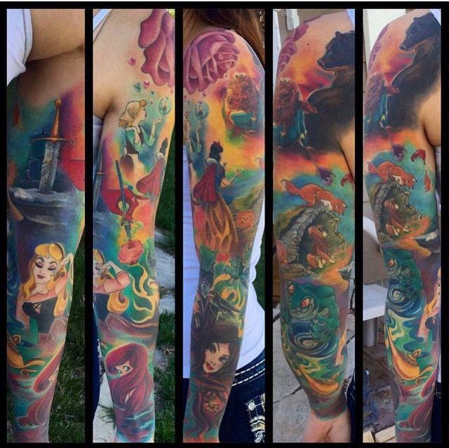 Sleeve Ink Tattoo Arm Color Tattoo Mermaid Saint: Pinterest: @MagicMatriarch #disneysleeve #disneytattoo