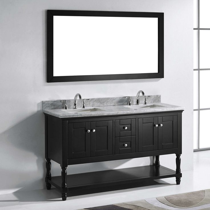 diy distressed bathroom vanity%0A Double Bathroom Vanity with Square Sink