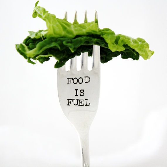 Food is Fuel. Hand stamped fork for healthy living, nutrition and fitness. By Milk & Honey