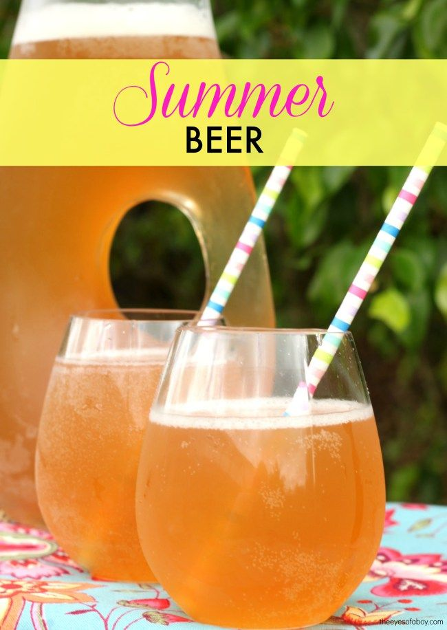 Summer Beer drink recipe - delicious and refreshing shandy style cocktail made with pink lemonade + beer + vodka - get the recipe to make for your next backyard bbq or 4th fourth of july barbecue