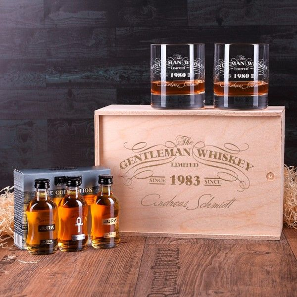 Whisky Geschenkset Jura Collection mit 2 gravierten Gentleman Whisky Gläsern