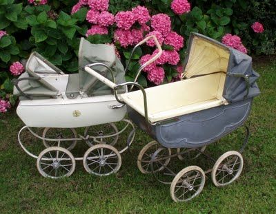 I seriously want one!!  Who remembers these.  I used to push my little sister around in one of these.  I had a real live doll, lol.  So cute.  The fabric of my life ~ vintage baby carriages from the 1940's and 1960's