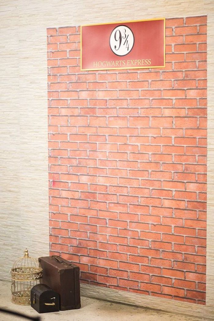 Platform 9 and 3/4 backdrop from a Harry Potter Birthday Party via Kara's Party Ideas   KarasPartyIdeas.com (49)