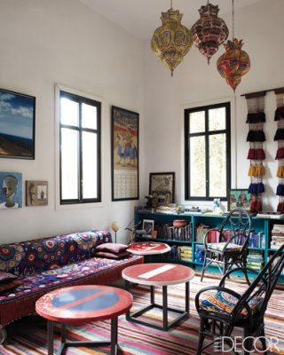 Elle Decor. Home of Maryam Montague.: Living Rooms, Elle Decor, Design Interiors, Home Interiors Design, Bohemian Living, Moroccan Style, Modern Houses, Design Rooms, Design Home