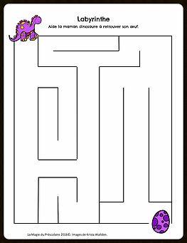 La Magie du Préscolaire - Matériel éducatif et autres | Labyrinthe des dinosaures à imprimer