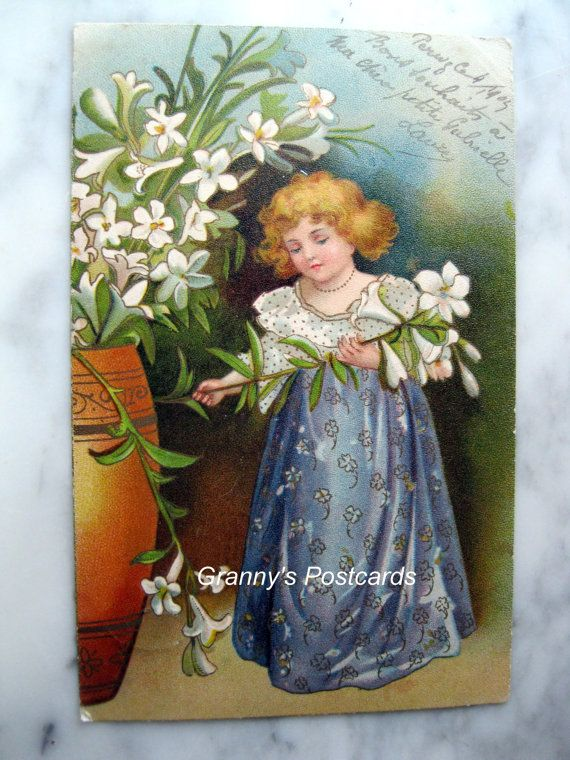 Antique Litho Postcard. 1905. Sweet little girl in a by grandma62