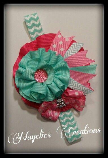 Pink, aqua chevron headband