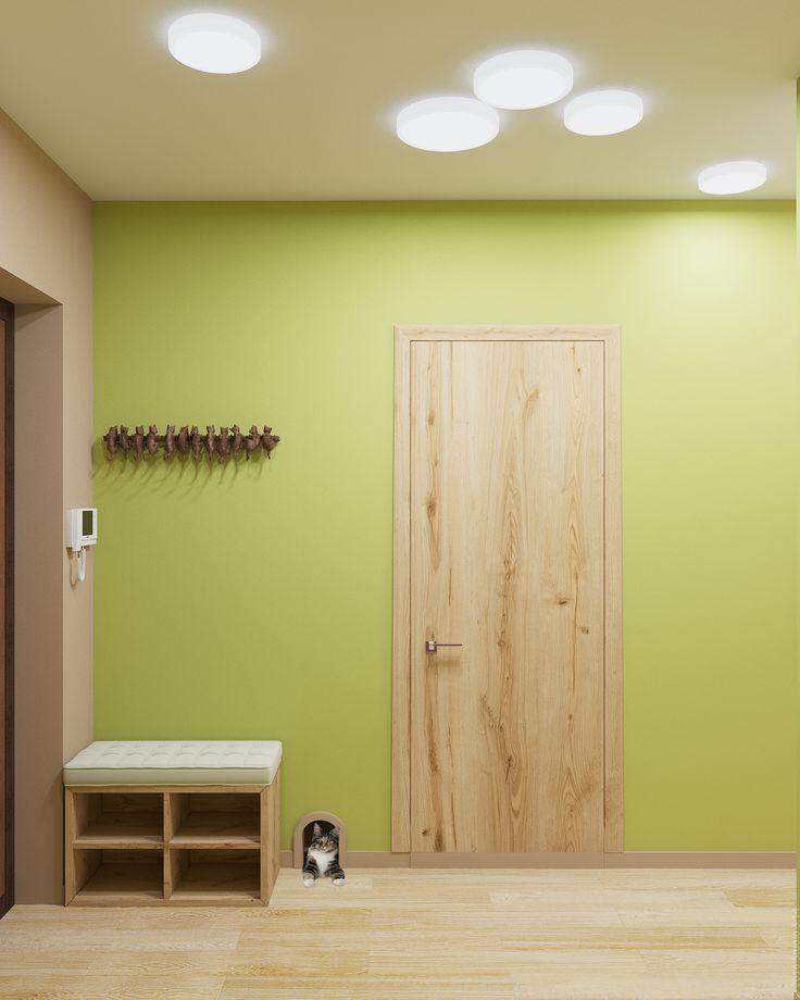 """Единственная """"традиционная"""" дверь в ванную комнату. Рядом - дверца для кота."""