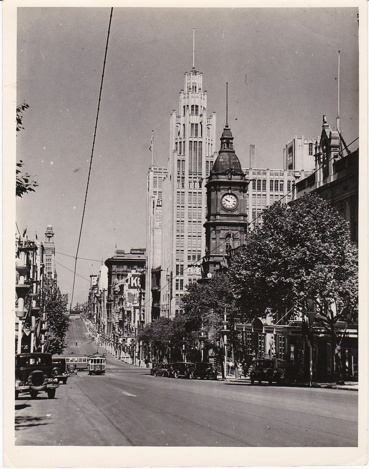 Bourke St Melbourne and the Post Master General clock tower. 1930's.