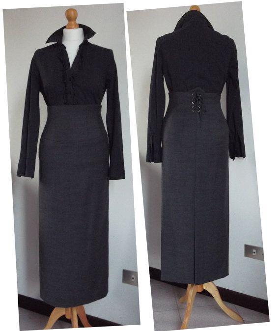 High waist pencil skirt sartorial style elegant long by SixteenOne