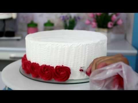 Como fazer Ombre Cake #como decorsr boloração com Bicos de confeitar - YouTube