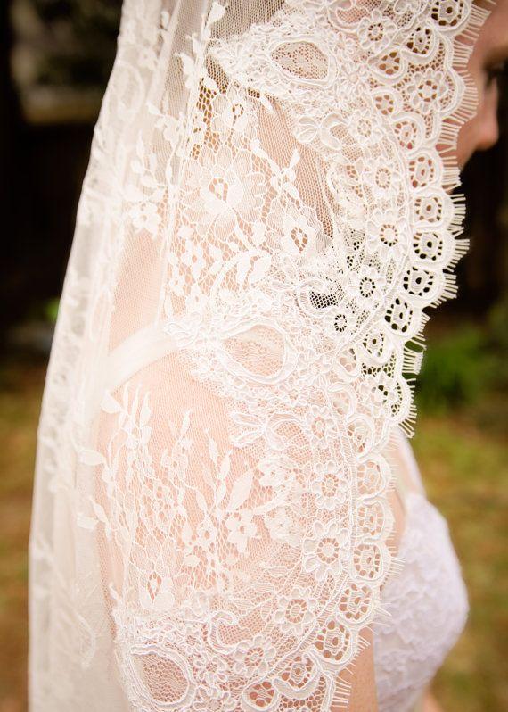 All Over Lace Veil  Lace Mantilla Lace Wedding by RechercheVeils
