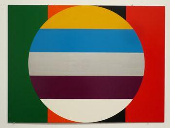 John Nixon, Nine Colour Flag, 2009, Enamel on MDF, 45 x 60 cm