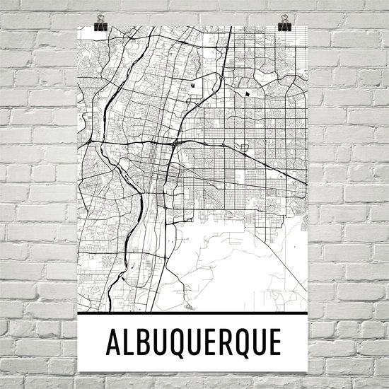 Albuquerque Map Art Print, Albuquerque NM Art Poster, Albuquerque Wall Art, Map of Albuquerque, Gift, Birthday, Decor, Modern, Art