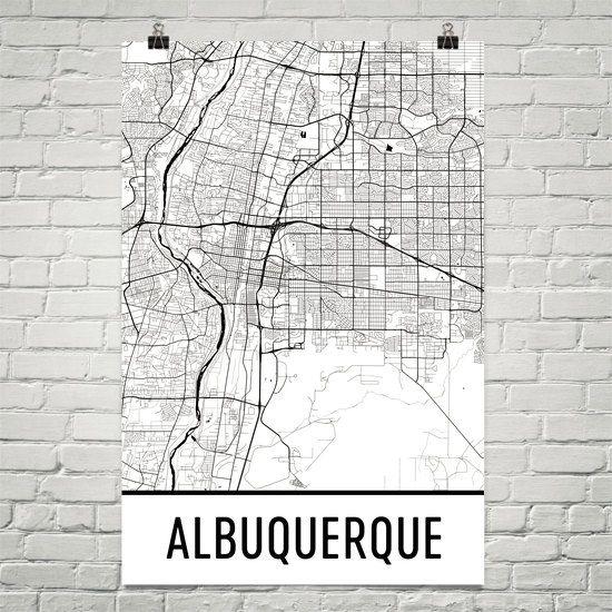 Albuquerque Map Art Print, Albuquerque NM Art Poster, Albuquerque Wall Art, Map of Albuquerque, Gift, Birthday, Decor, Modern, Art