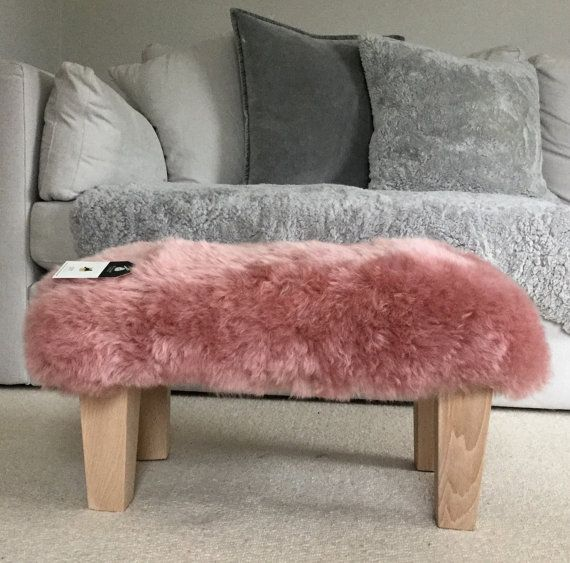 Footstool  dusky pink  Rose Pink  australian sheepskin. genuine sheepskin large footstool stool . Natural wood legs by Swedishdalahorse #TrendingEtsy