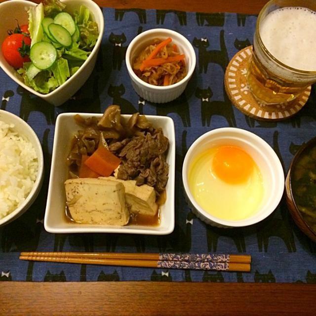 フライパンで簡単すき焼き♡ - 17件のもぐもぐ - すき焼き 切り干し大根と人参の煮物 ほうれん草のお味噌汁 サラダ by hasese