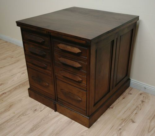 Fantastic-Antique-Industrial-Walnut-Drawers-Filing-Cabinet-Plans-Cabinet.  The idea is instead of side tables either side of the sofa bed you can have filing cabinets. I've pinned reproductions but it would be great if you could find some originals such as this