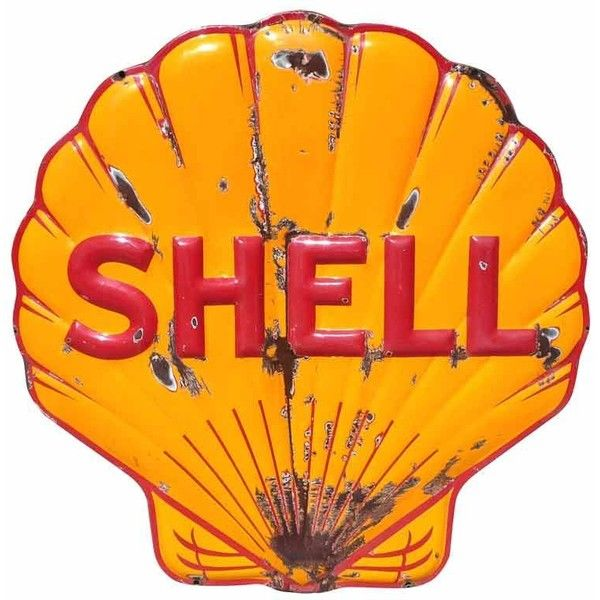 Off The Wall Antiques - Shell Oil Company - Large Scale Porcelain Enameled Shell Gasoline Sign - 1stdibs found on Polyvore