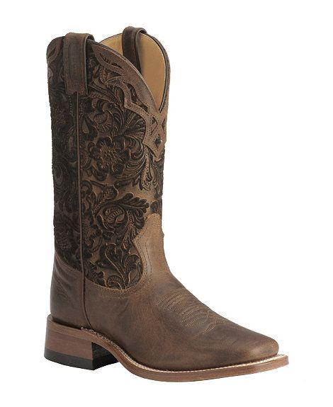 Boulet Tooled Shaft Cowgirl Boots -- Square Toe. These are cute!