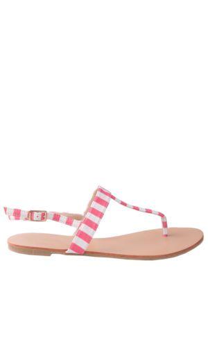 Hidden Fashion Womens Ladies Faux Leather Striped Strappy T Bar Flat Sandals | eBay