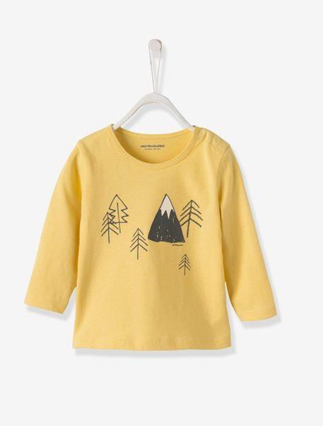 T-shirt bébé garçon Blanc cassé+Blanc imprimé montagnes+Jaune clair+Raye blanc/marine - vertbaudet enfant