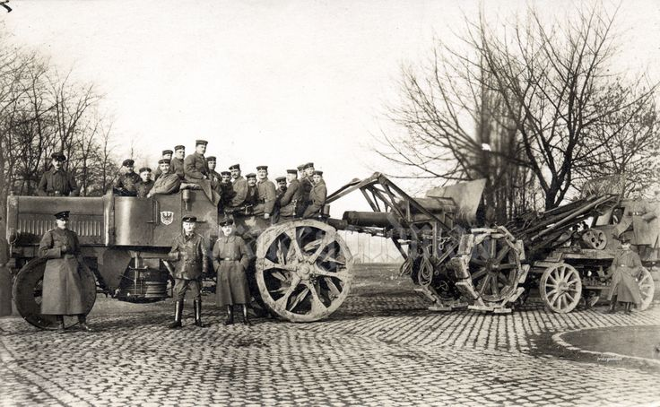 https://flic.kr/p/8H3ES2 | 21cm Mörser m.10/16 and Dürkopp-Artillerie-Kraftschlepper (tractor) Lastenverteilergerät (load distributor) | Nothing on reverse.  In March 1915 an Ing. Bräuer had proposed to the Artillerieprüfungskommission (APK), the artillery testing commission , a load-distributing system for heavy guns, which lowered the ground pressure by suspending the gun between the tractor and a sort of semitrailer. The APK accepted this and Rheinmetall went on to produce it. At the end…