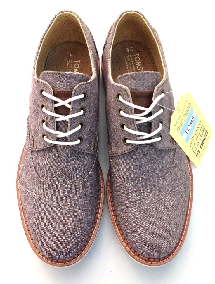 New! TOMS Men's Brown Chambray Brogue | Our most popular men's shoe. Dress it up or down. This is the go to