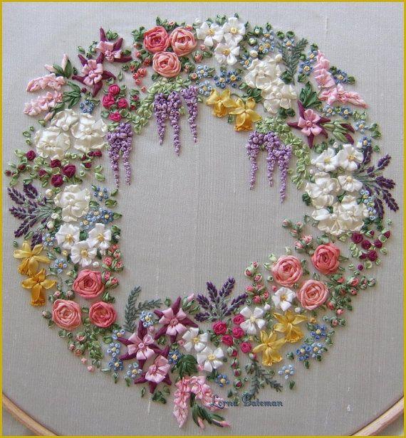 Garland of Silk Ribbon flowers Pattern and by lornabateman22