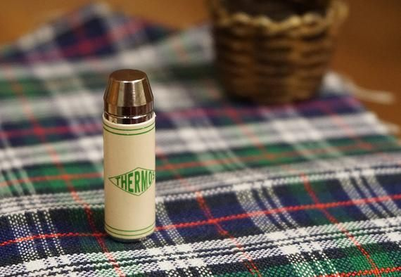 Plaid Thermos Flask Dolls House Miniature Kitchen Accessory 1:12 Scale picnic