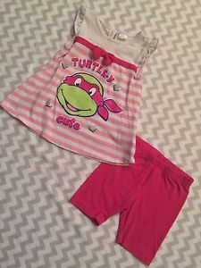 Teenage Mutant Ninja Turtles Girls Outfit, Hot Pink, Top/Shorts, Size 24m  | eBay