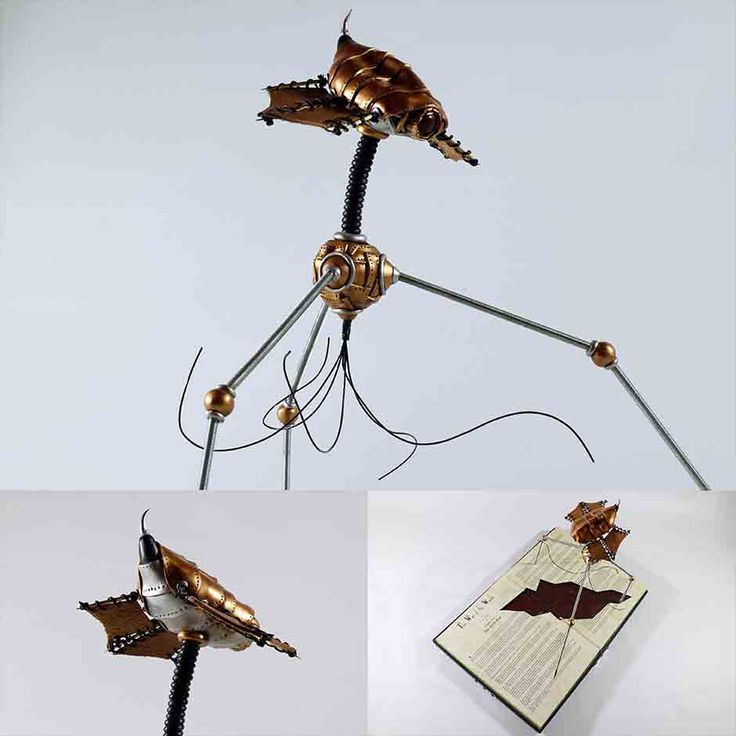 a Sculpey Clay Sculpture depicting a Fighting Machine(Tripod) from the 1897 H. G. Wells classic, The War Of The Worlds. The Sculpture is mounted on an old book and boasts a Steampunk look. see more @ the mind is right http://themindisright.com/Project/The-Fighting-Machine #beautiful #art #artwork #artist #artshow #artgallery #newartwork #artfairnyc #fineart #myart #artnews #artinfo #creative #steampunk #sculpture #arte #follow #artwork #artoftheday #gallery #artist #inspiration…