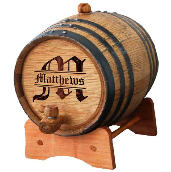 This is the perfect gift for that favorite liquor or wine connoisseur in your life. It makes a great Groomsman, Wedding Party, Fathers Day and Birthday Gift. This whiskey barrel is fully functional and can be used to age or store any spirit. This is a steel banded Oak Barrel/Cask and it comes with its own stand, spigot and bung which makes for convenient serving and filling. Each barrel/cask has enclosed directions. ***IMPORTANT - Please send ALL personalization instructions below i...