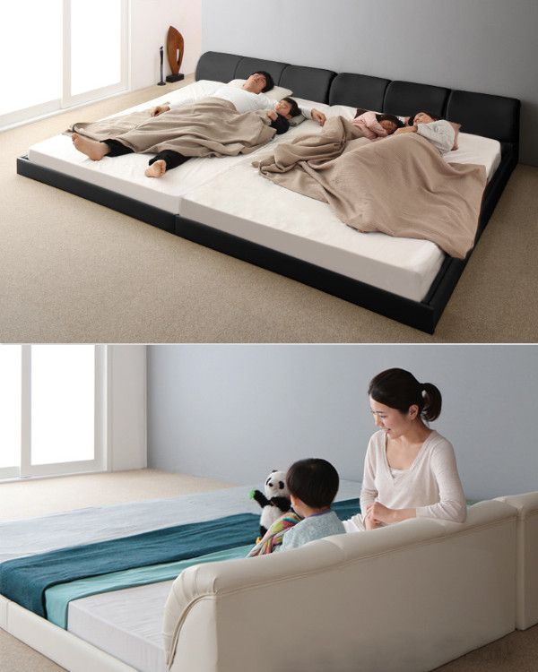 Bastol は高級感のあるソファのようなヘッドボードのローベッドです ベッド 寝室 寝室インテリア 和モダンインテリア 革張り ファミリー ベッド ローベッド クッション キングサイズ 連結ベッド ローベッド ベッド 寝室