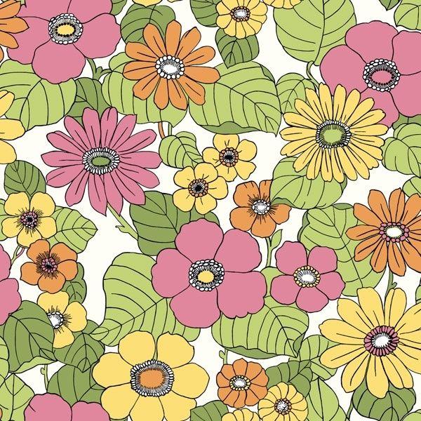 Behang bloemen roze/geel/oranje/groen 3850 Voca