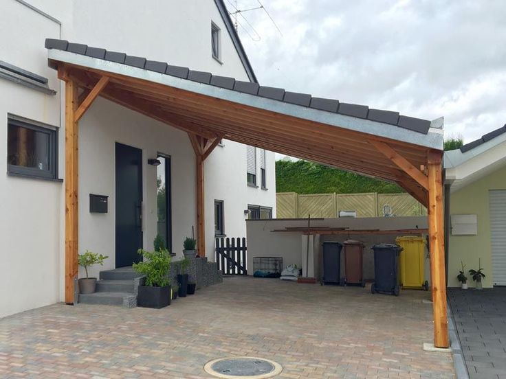 Wooden carport with pent roof in 2020 Wooden carports