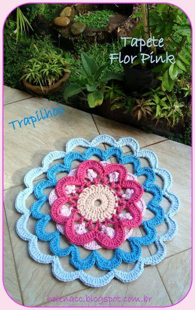 I ALSO ... CROCHETO: Flower Carpet Pink in Trapilhos