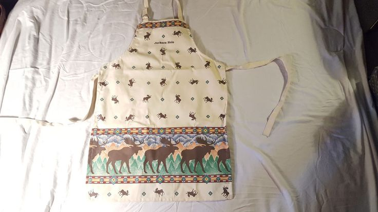 Moose Crossing Apron Jackson Hole, WY  Kay Dee Designs NEW TAGS Off White Ivory #KayDee #Contemporary #Apron