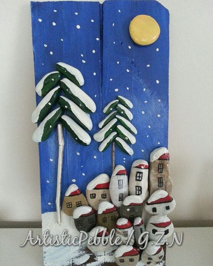 #wood #woodworking #yellow #brown #red #blue #white #snow #flowers #pebble #painting #arts #stone #decoration #stonepainting #pano #acsessories #wallart #artisticpebble #holiday #home #homedecor #homedecoration #star #moon #village #city #pıne #tree #snowfall