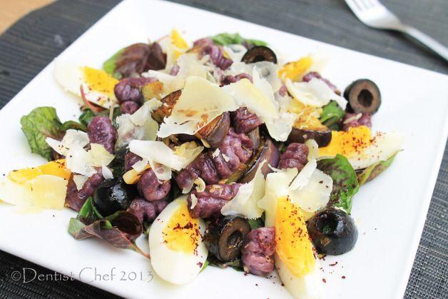 Homemade Sweet Potato Gnocchi Pasta salad with Amaranth, Roasted Aubergine and Kalamata Olives