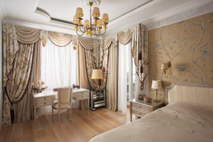 Элегантные многослойные шторы в спальне