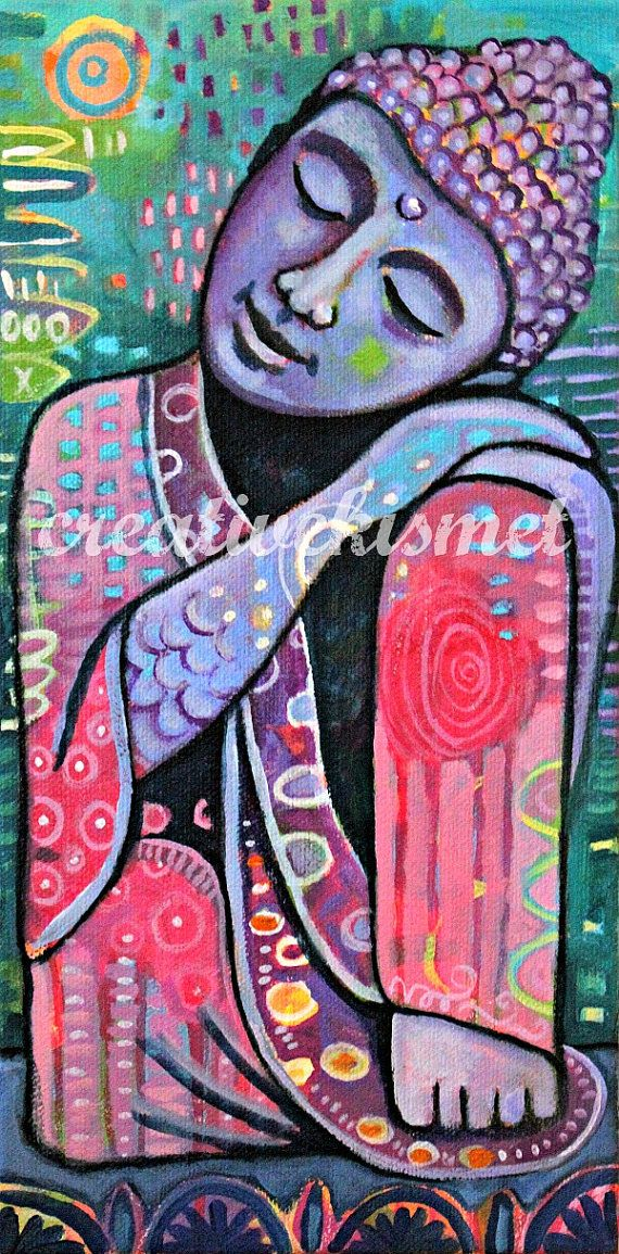 Dreaming Buddha 6X12 Original Art by Regina by CreativeKismet