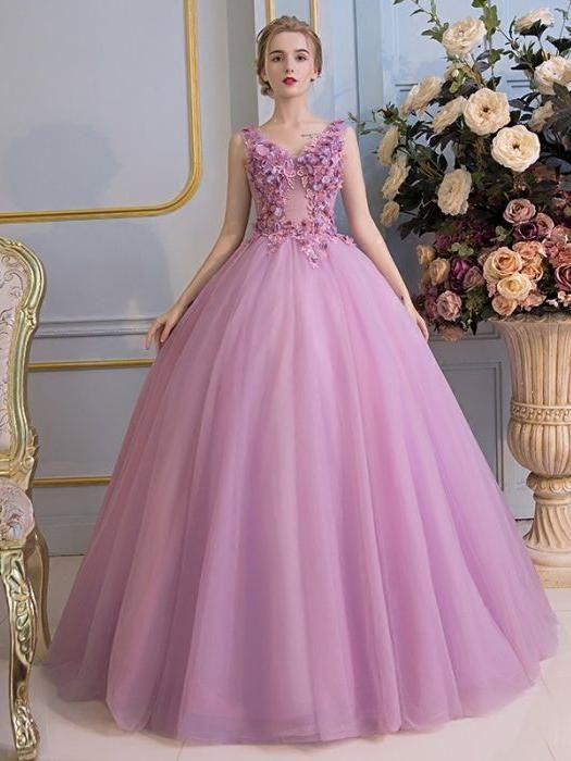 638ed32dadb Chic A-line V-neck Sleeveless Prom Dress Lilac Applique Tulle Long ...