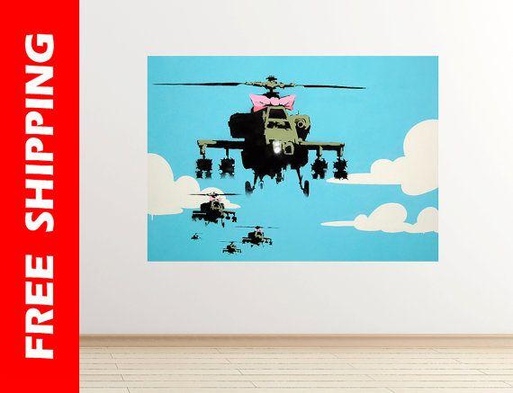 vapor helicopter uav banksy wall decal graffiti art chopper wall sticker banksy poster graffiti street art