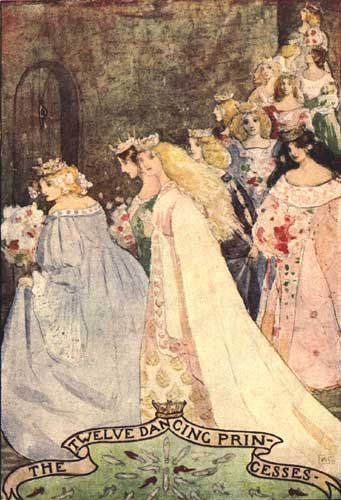 The Twelve Dancing Princesses by Katharine Cameron; The Enchanted Land: Tales Told Again. Katharine Cameron, illustrator. London: TC & EC Jack, 1909.