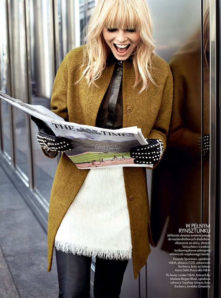 BANGS! Dasha Z. Takes the Military Trend to the Streets for Elle Polands November Issue. #hair #blonde