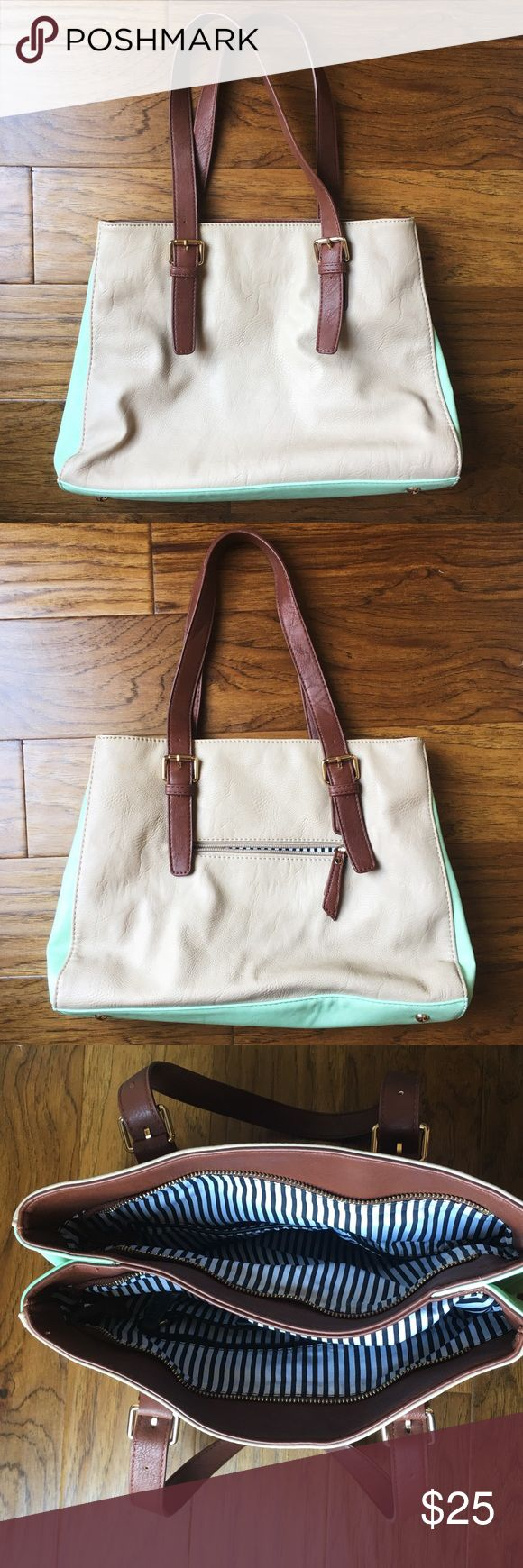 Cute beige and mint purse Fun spring and summer beige and mint purse! Rarely used and in excellent condition. Two different compartments for extra storage. Happy shopping 😊 Charming Charlie Bags Shoulder Bags