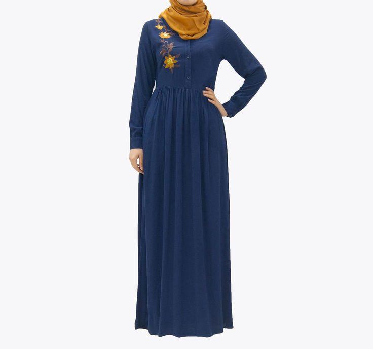 Robe fluide et très agréable à porter   Sa broderie vous apportera une touche d'élégance    Coloris : Jaune moutarde ; Bleu marine  Taille : Du S au XL